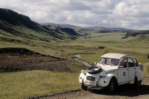 Landskaber fra vores tur Island rundt i 2CV i 1997